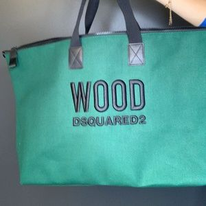 WOOD DSQUARED2 GREEN OVER NIGHT BAG